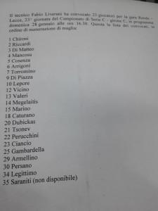 La lista dei convocati per Rende - Lecce