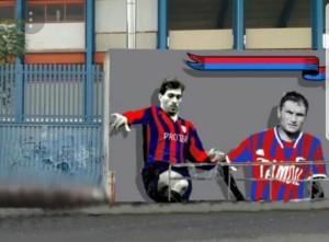 Il murales con Loriano Cipriani