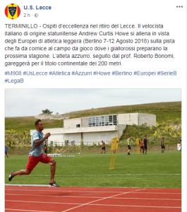 Il post sulla pagina dell'US Lecce